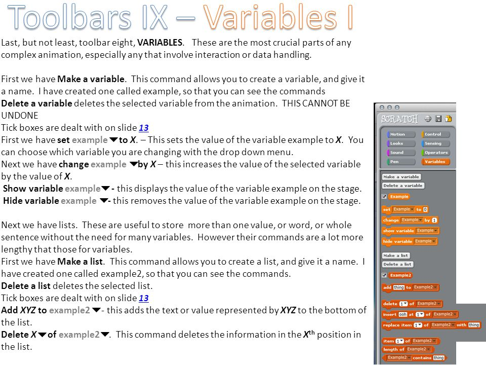 Toolbars IX – Variables I