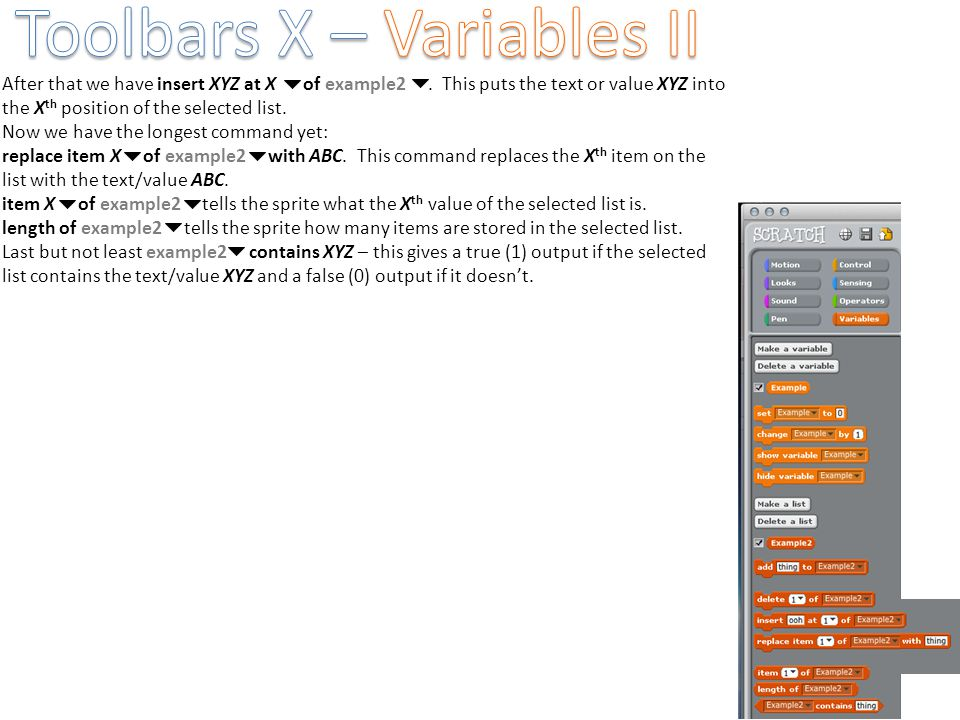 Toolbars X – Variables II