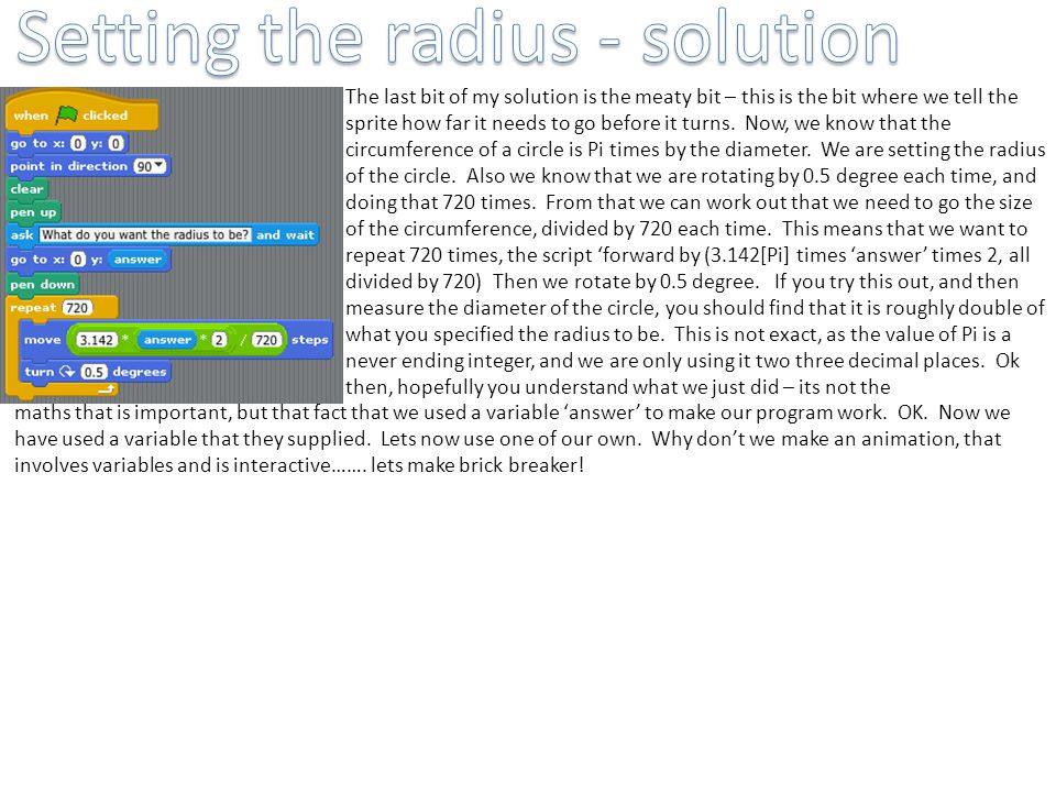 Setting the radius - solution