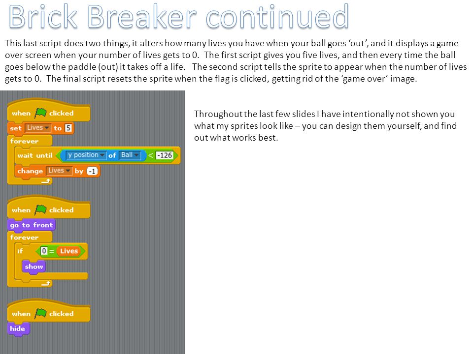 Brick Breaker continued