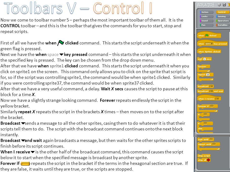 Toolbars V – Control I