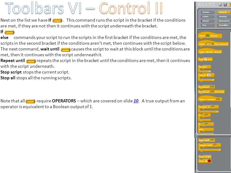 Toolbars VI – Control II