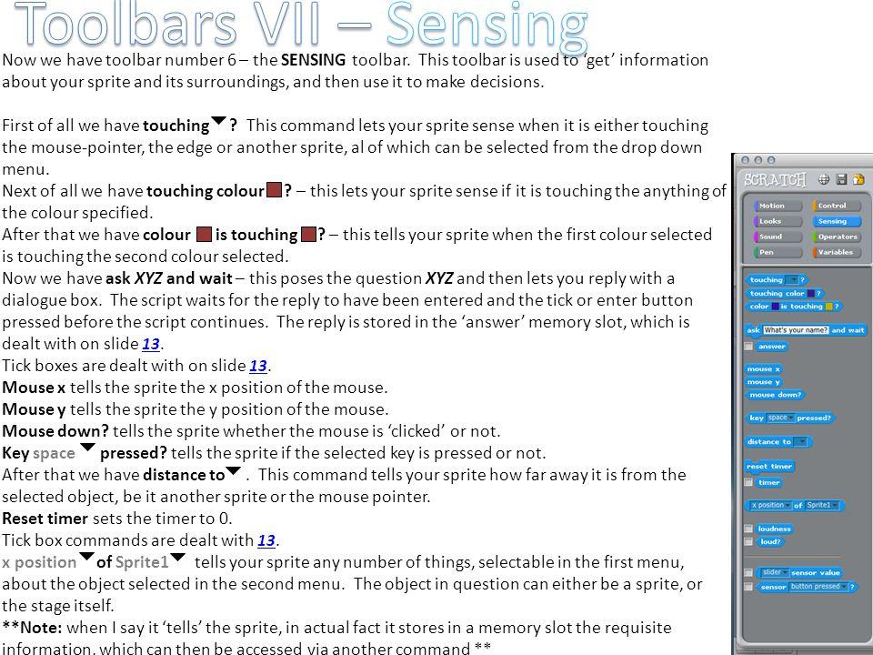 Toolbars VII – Sensing