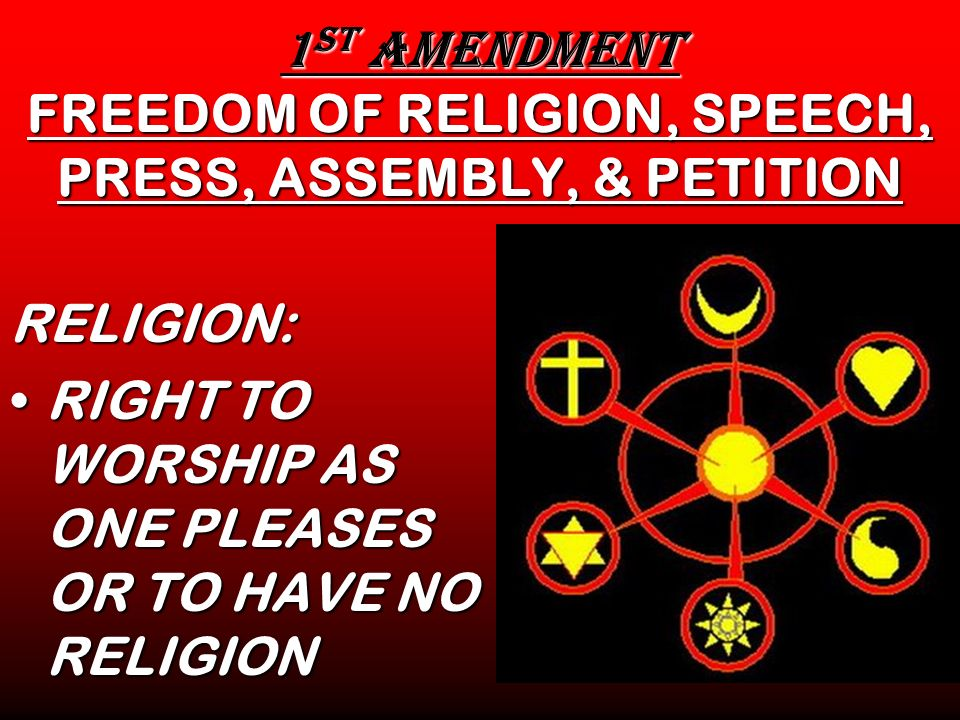 1st AMENDMENT FREEDOM OF RELIGION, SPEECH, PRESS, ASSEMBLY, & PETITION