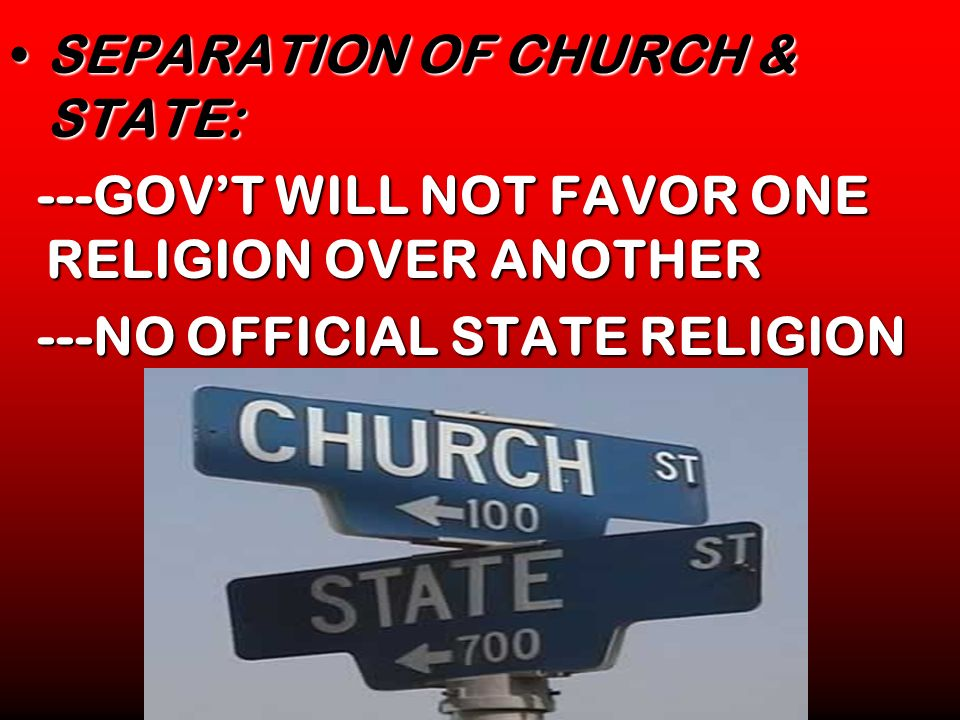 SEPARATION OF CHURCH & STATE: