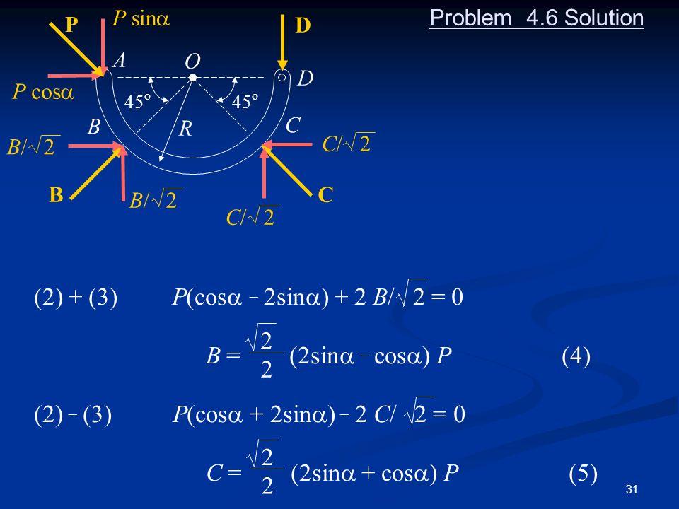(2) + (3) P(cosa _ 2sina) + 2 B/ 2 = 0 B = (2sina _ cosa) P (4)