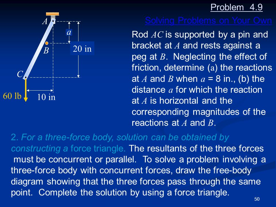 Problem 4.9 A. B. C. a. 20 in. 10 in. 60 lb. Solving Problems on Your Own. Rod AC is supported by a pin and.