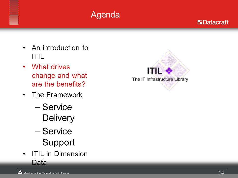 Service Delivery Service Support Agenda An introduction to ITIL