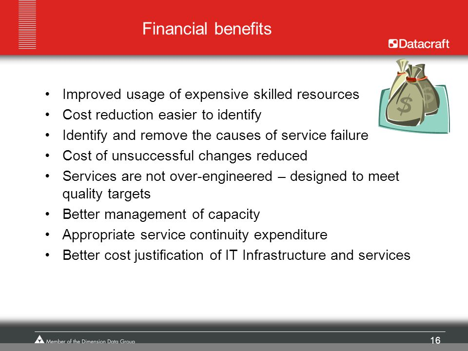 Financial benefits Improved usage of expensive skilled resources