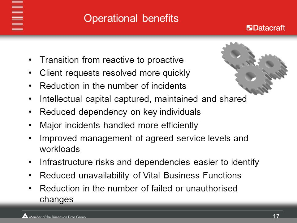 Operational benefits Transition from reactive to proactive