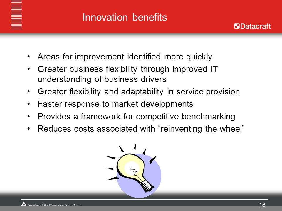 Innovation benefits Areas for improvement identified more quickly