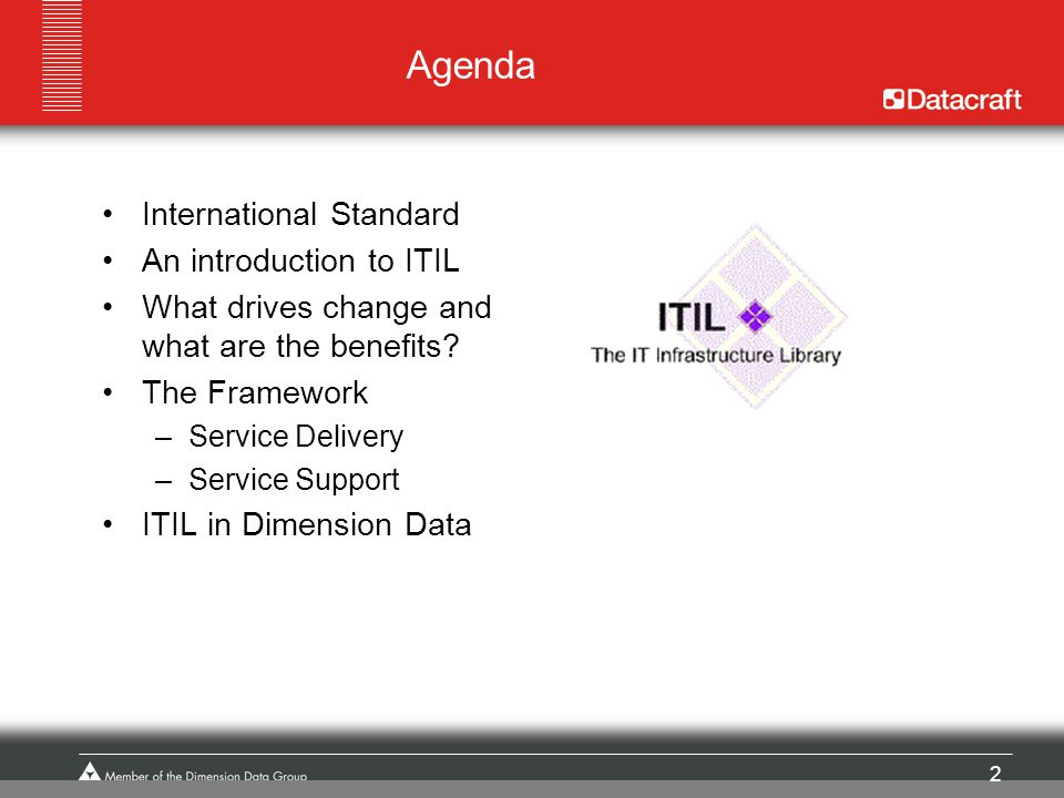 Agenda International Standard An introduction to ITIL