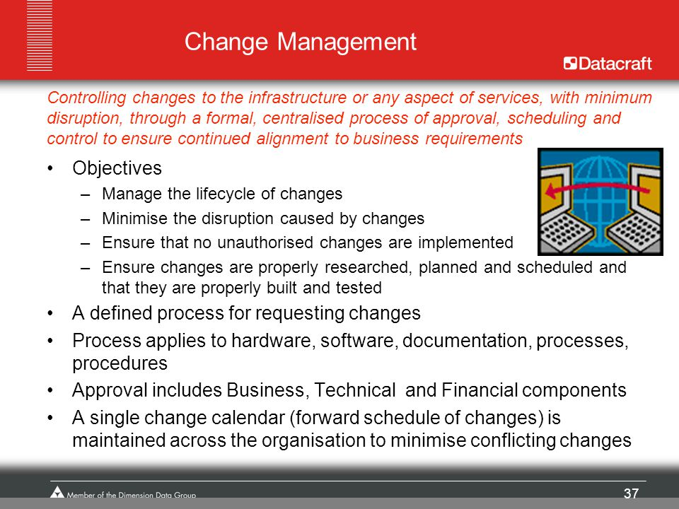 Change Management Objectives A defined process for requesting changes