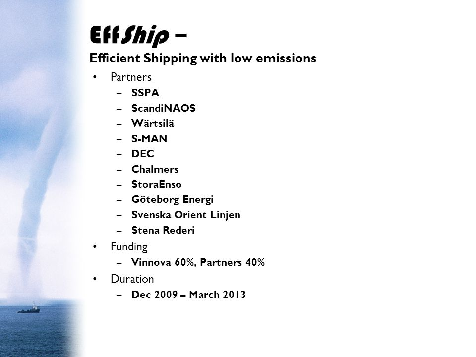 EffShip – Efficient Shipping with low emissions