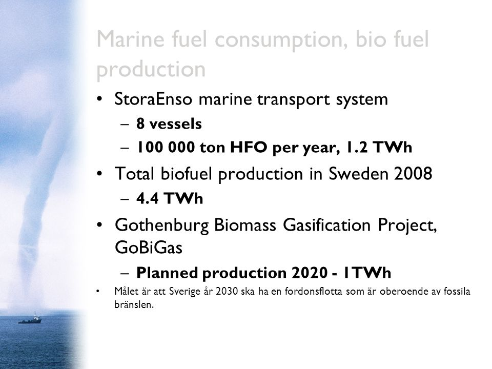 Marine fuel consumption, bio fuel production