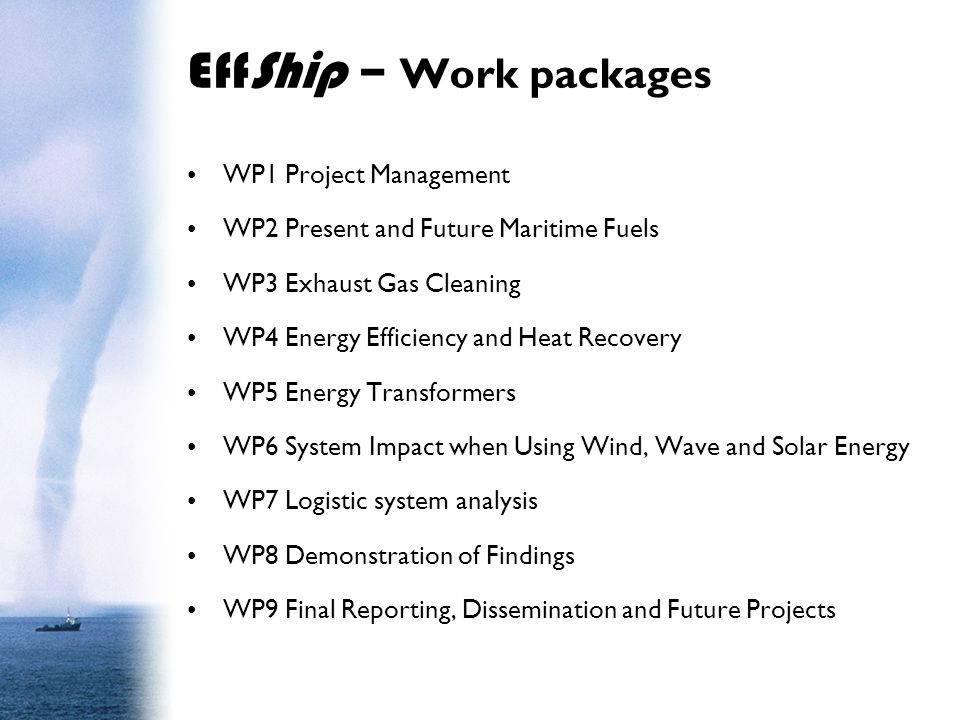 EffShip – Work packages