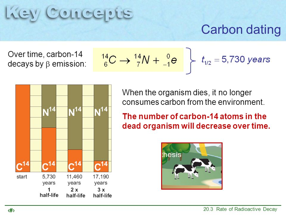 Carbon dating Over time, carbon-14 decays by b emission: