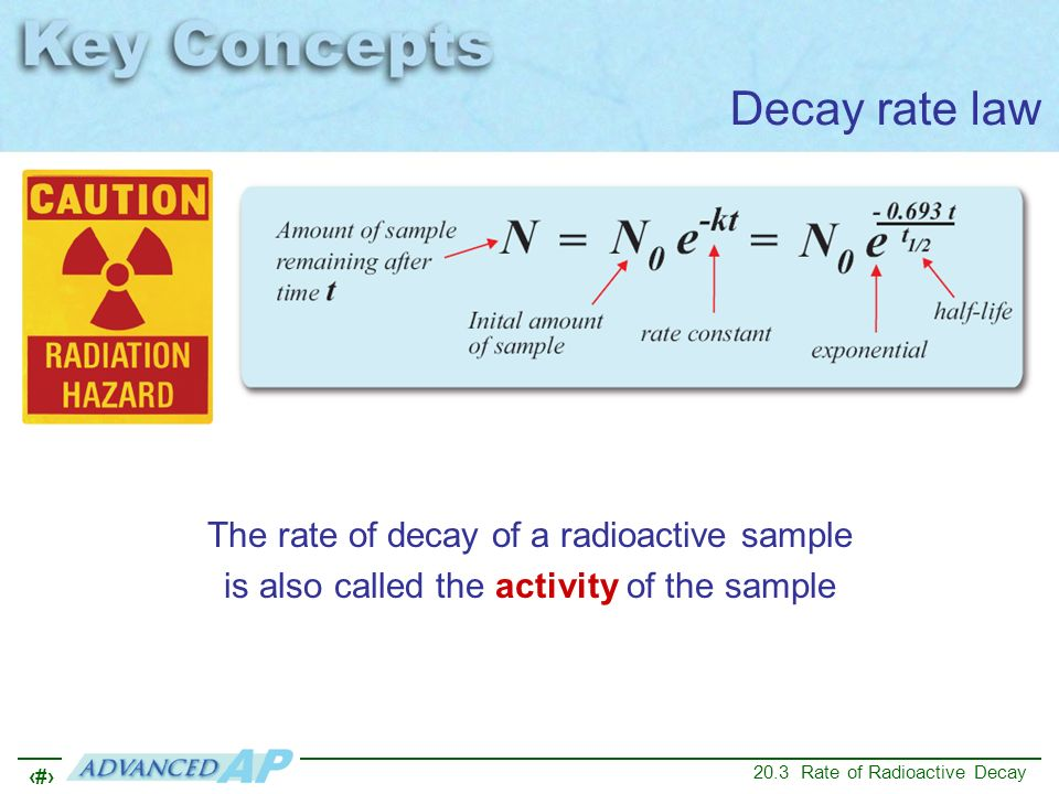 Decay rate law The rate of decay of a radioactive sample is also called the activity of the sample