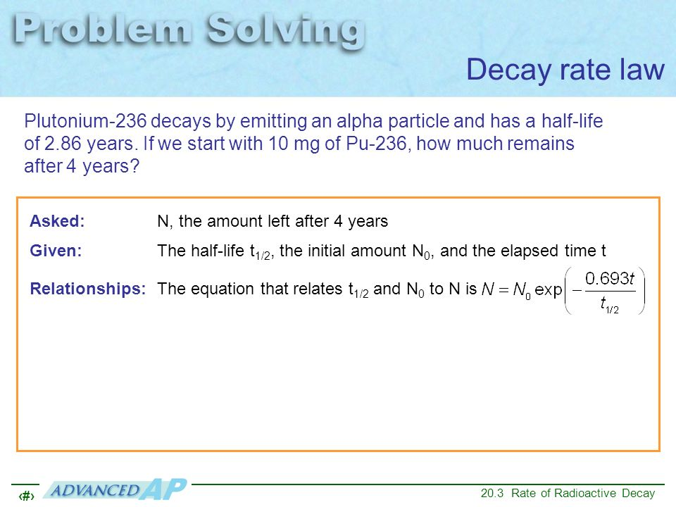 Decay rate law