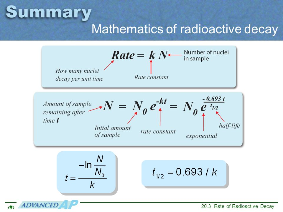 Mathematics of radioactive decay