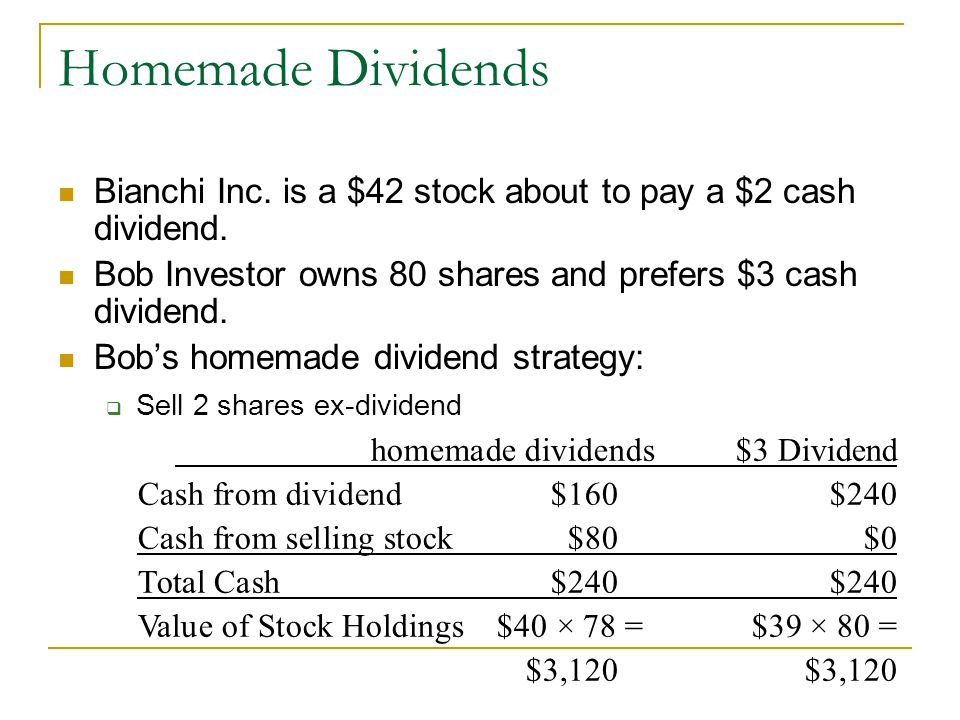 Homemade Dividends Bianchi Inc. is a $42 stock about to pay a $2 cash dividend. Bob Investor owns 80 shares and prefers $3 cash dividend.