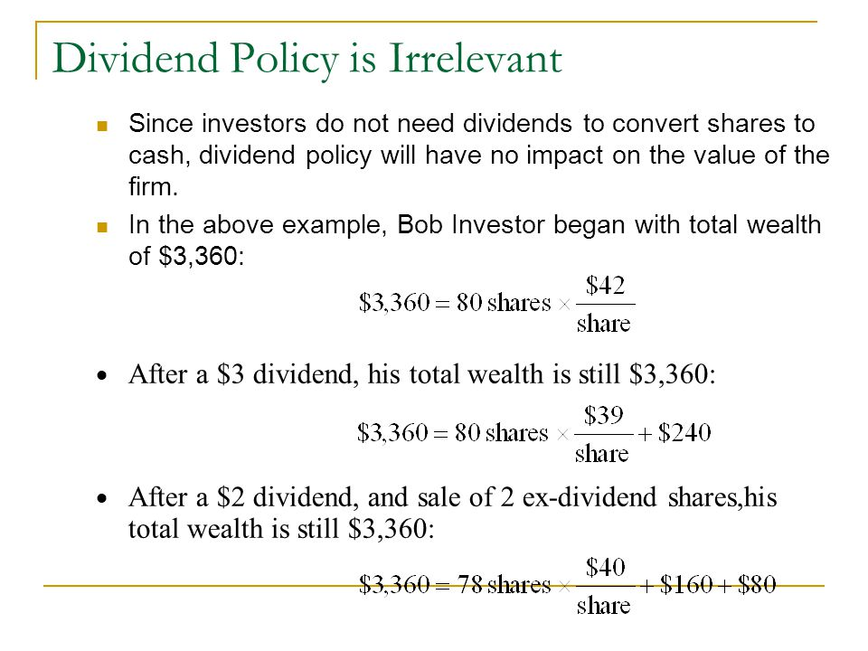 How Does a Dividend Payment Affect the Shareholder's Wealth?
