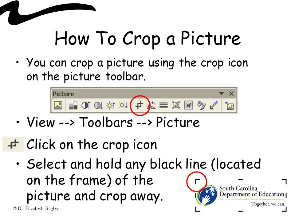 How To Crop a Picture View --> Toolbars --> Picture