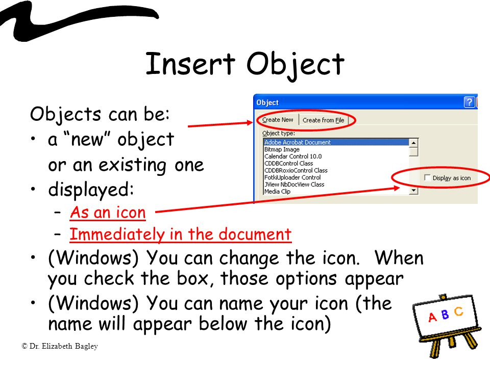 Insert Object Objects can be: a new object or an existing one