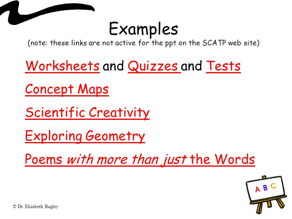 Examples (note: these links are not active for the ppt on the SCATP web site)