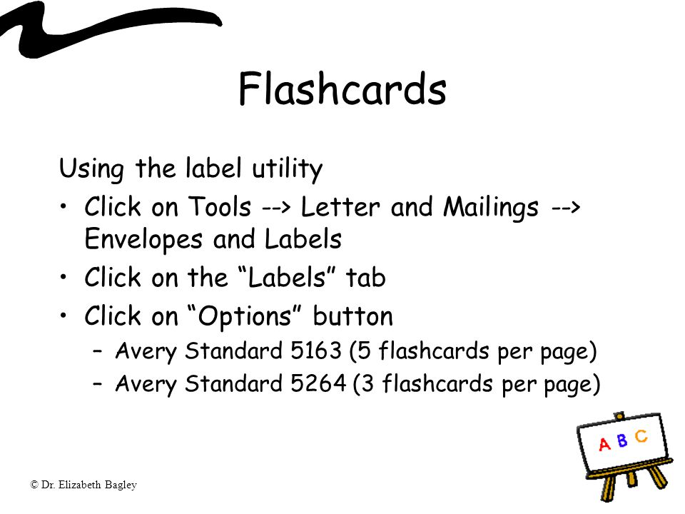 Flashcards Using the label utility
