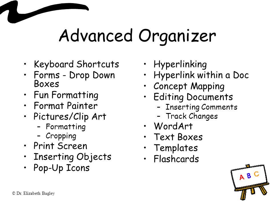 Advanced Organizer Keyboard Shortcuts Forms - Drop Down Boxes
