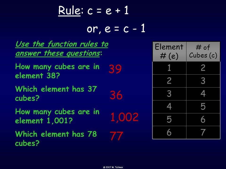 Rule: c = e + 1 or, e = c - 1. Use the function rules to answer these questions: How many cubes are in element 38