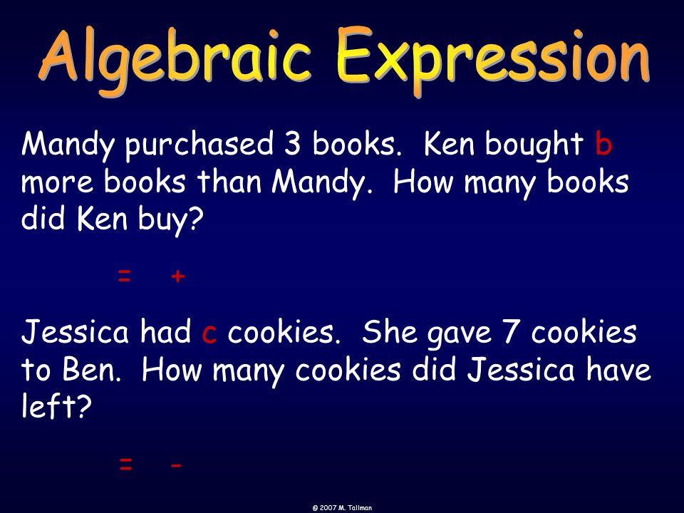 Algebraic Expression Mandy purchased 3 books. Ken bought b more books than Mandy. How many books did Ken buy