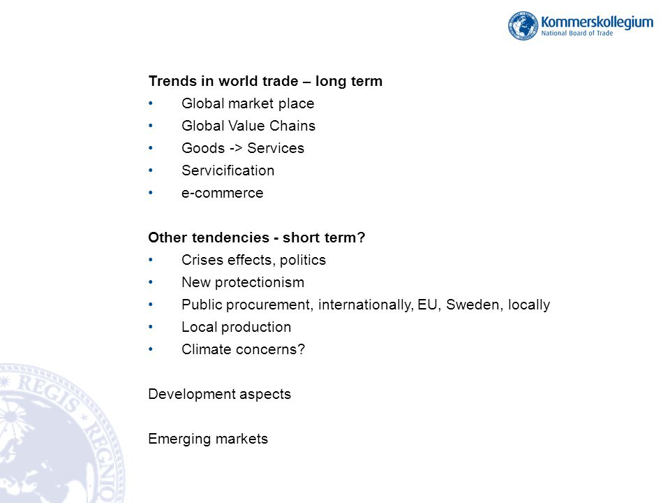 Trends in world trade – long term