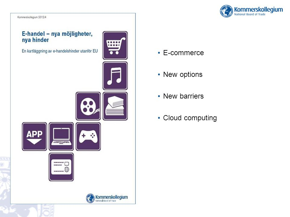 E-commerce New options New barriers Cloud computing