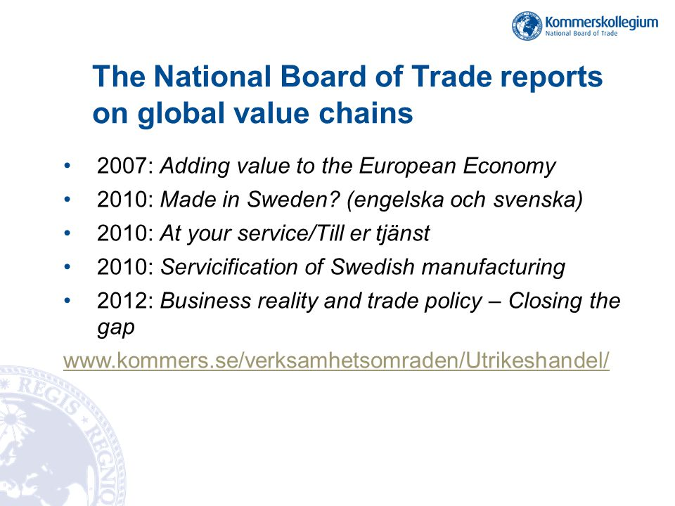 The National Board of Trade reports on global value chains