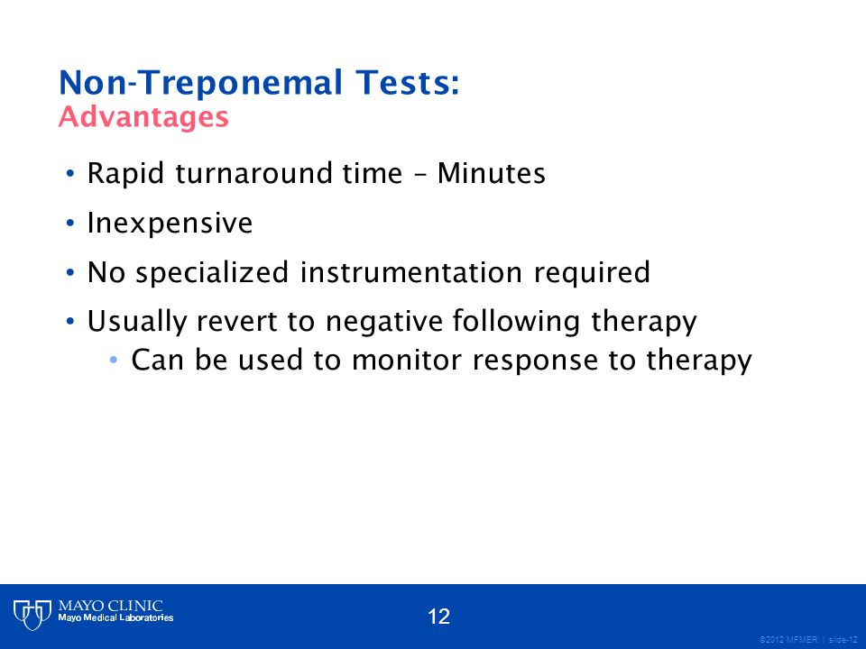 Non-Treponemal Tests: Advantages