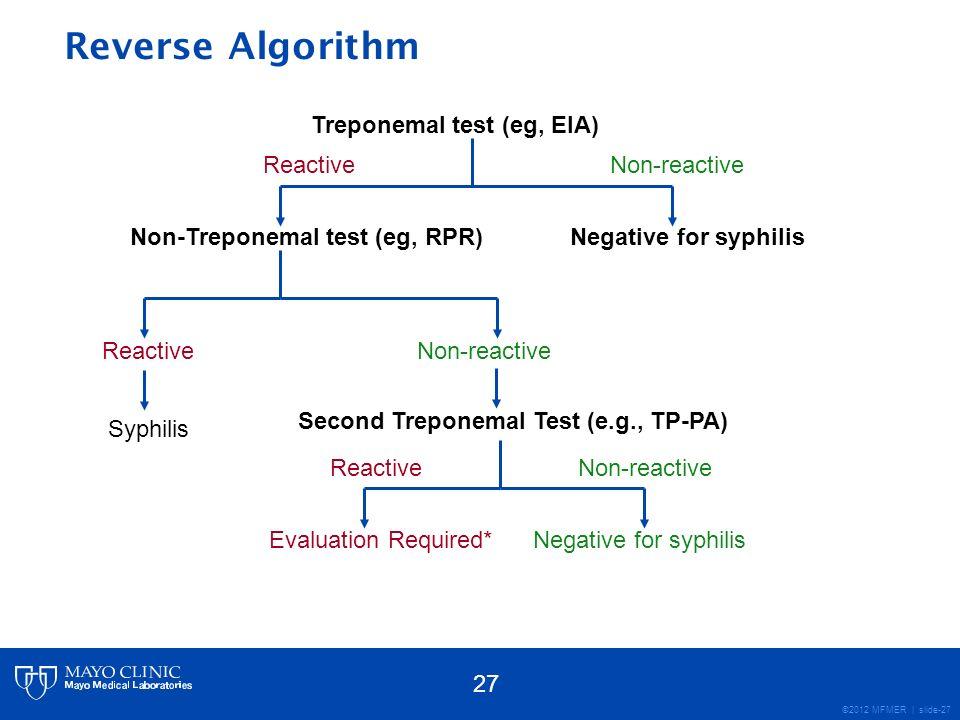 Reverse Algorithm Treponemal test (eg, EIA) Non-reactive Reactive