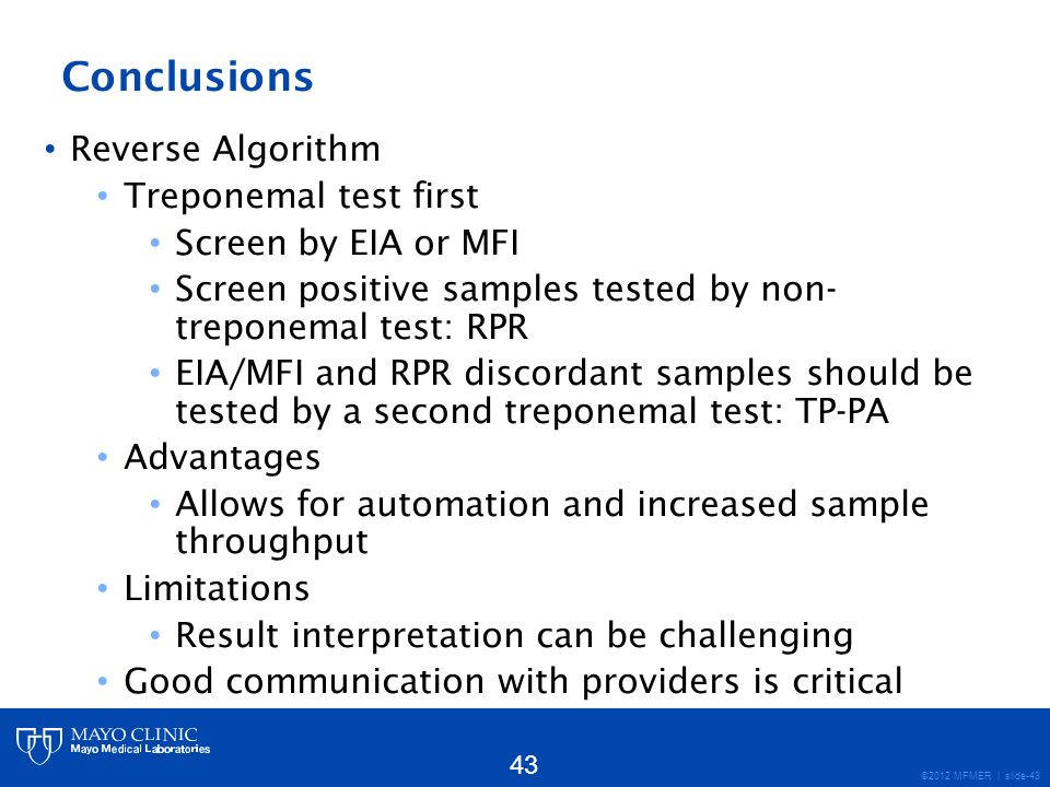 Conclusions Reverse Algorithm Treponemal test first