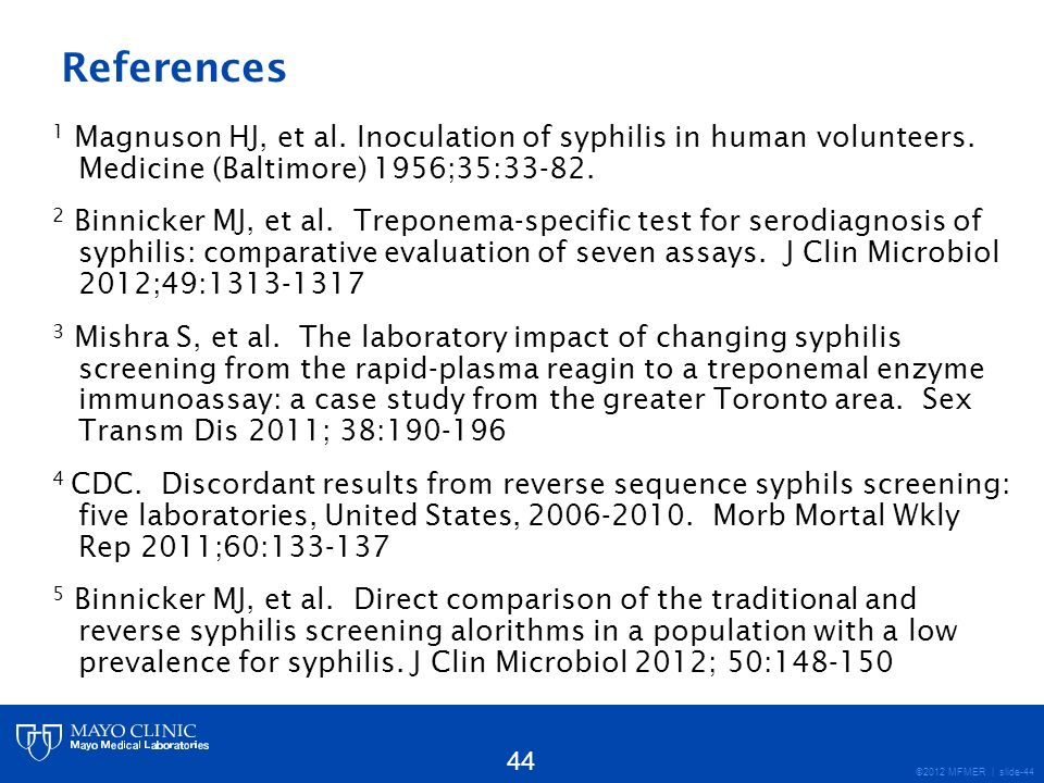 References 1 Magnuson HJ, et al. Inoculation of syphilis in human volunteers. Medicine (Baltimore) 1956;35:33-82.