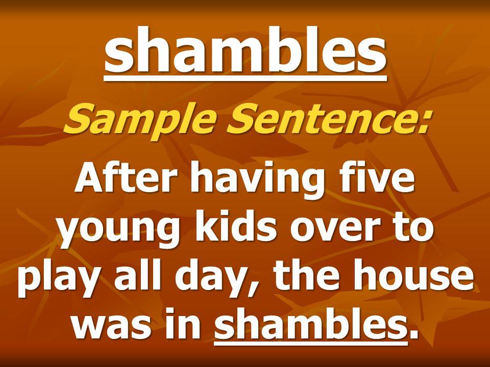 shambles Sample Sentence: