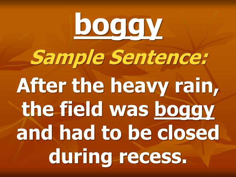 boggy Sample Sentence: