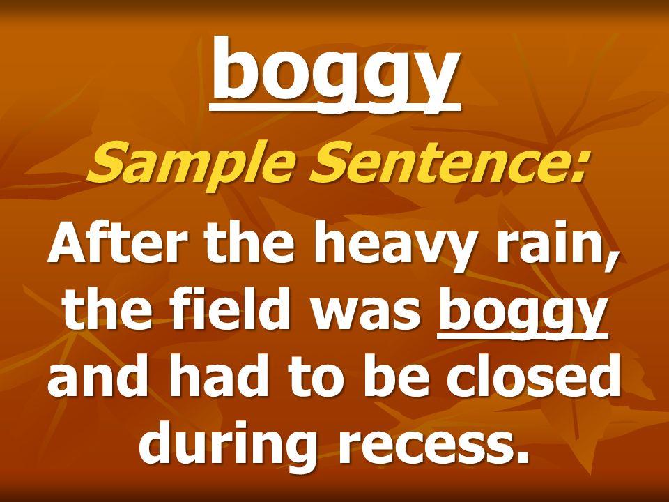 boggy Sample Sentence: