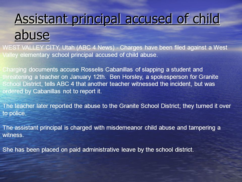 Assistant principal accused of child abuse