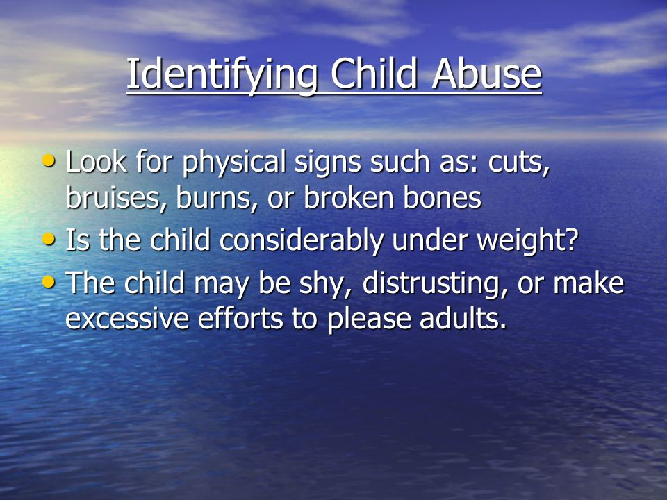 Identifying Child Abuse
