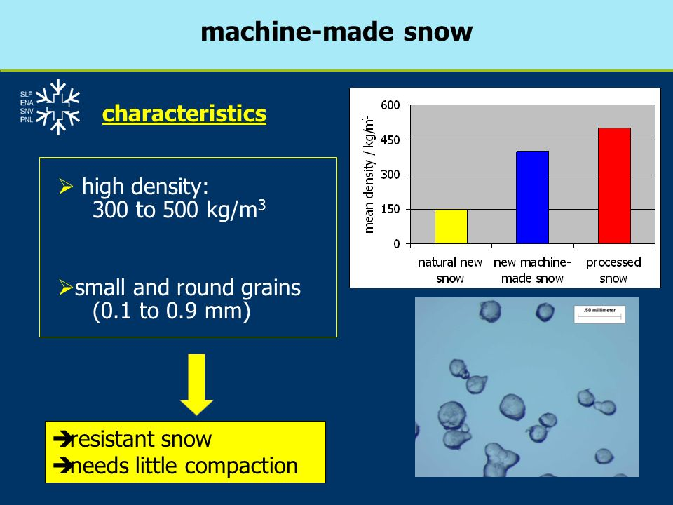 machine-made snow characteristics high density: 300 to 500 kg/m3