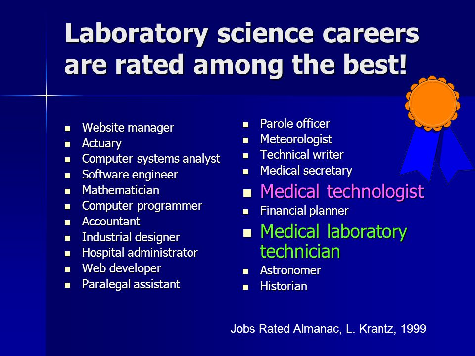 Laboratory science careers are rated among the best!