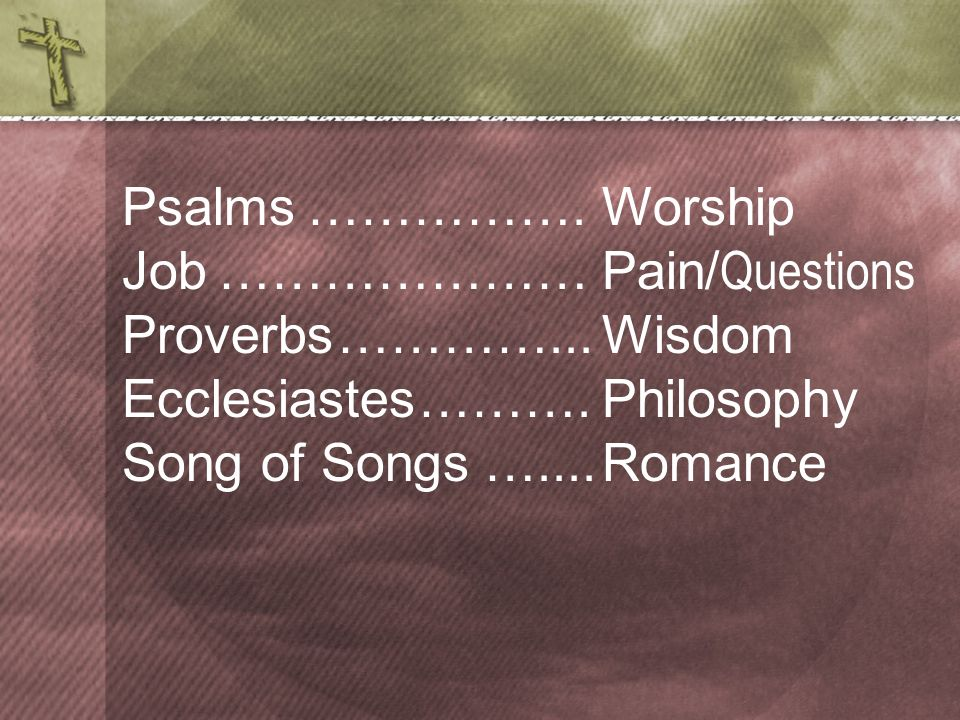 Psalms Job. Proverbs. Ecclesiastes. Song of Songs. ……………. Worship. ………………… Pain/Questions. …………... Wisdom.