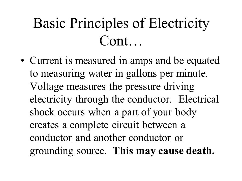 Basic Principles of Electricity Cont…