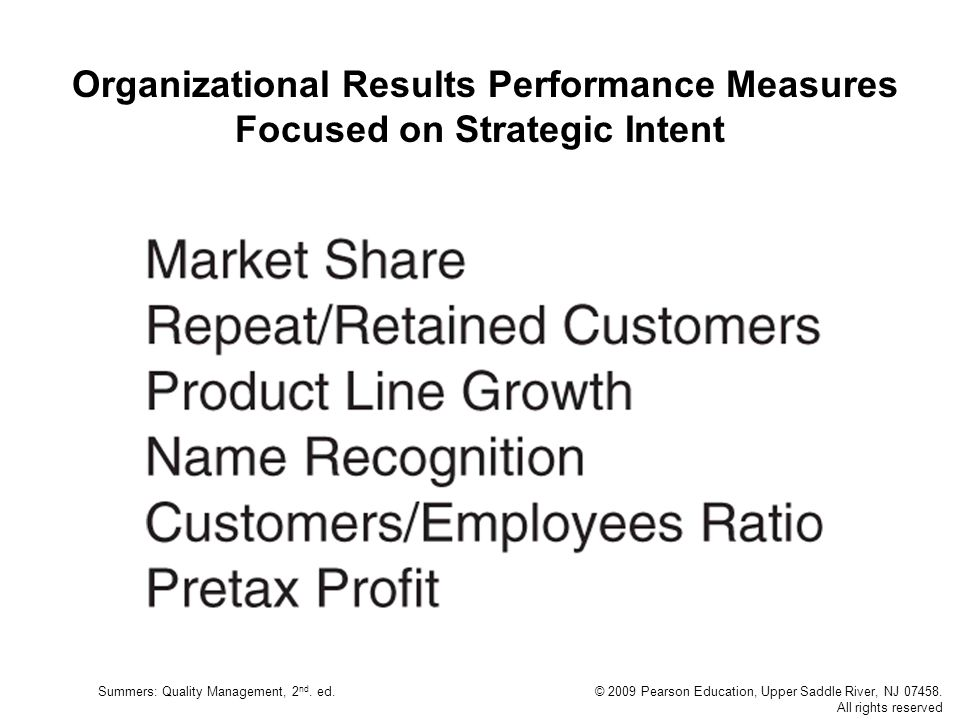 Organizational Results Performance Measures Focused on Strategic Intent